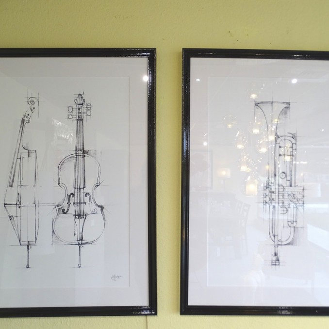 Lithographies instruments de musique