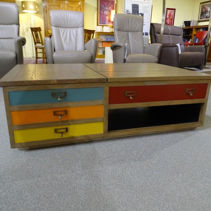 Table basse avec plateaux relevables