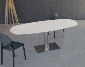 table-de-repas-artica base inox-laqué-blanc-depoli-acier-inoxydable-brossé-dt021lwa-1-0